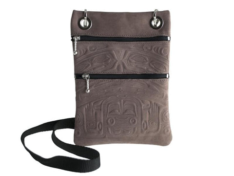 Nubuck Leather Passport Pouch Bear Box (Taupe)