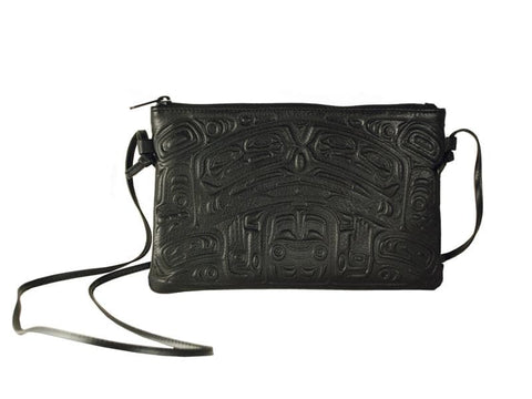 Embossed Leather Crossbody Bag Bear Box Design (Black Leather)