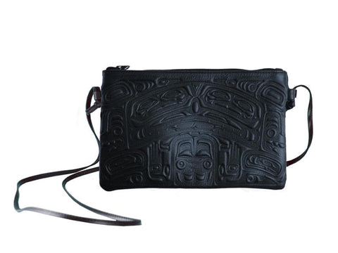 Embossed Leather Crossbody Bag Bear Box Design (Navy Leather)