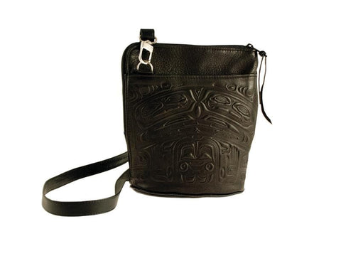 Bear Box Compact Crossbody Bag - Black Deerskin