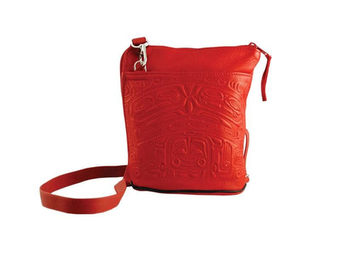 Bear Box Compact Crossbody Bag Deerskin Red