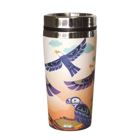 Bamboo Travel Mug - Eagle Family by Mervin Windsor