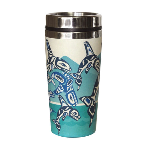 Bamboo Travel Mug - Orca Family by Paul Windsor