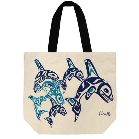 Canvas tote - Orca Family by Paul Windsor