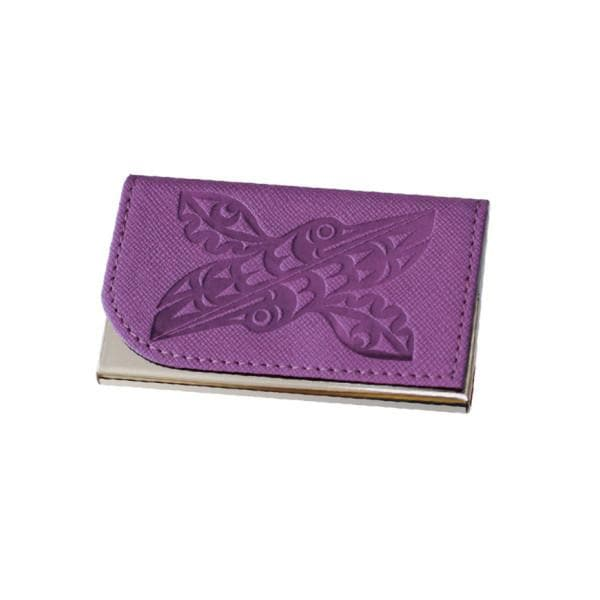 Card holder - Hummingbirds by Maynard Johnny Jr, Purple