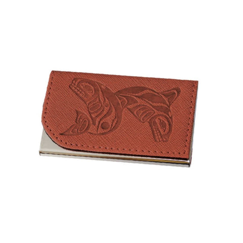 Card Holder - Whales by Paul Windsor, Brown