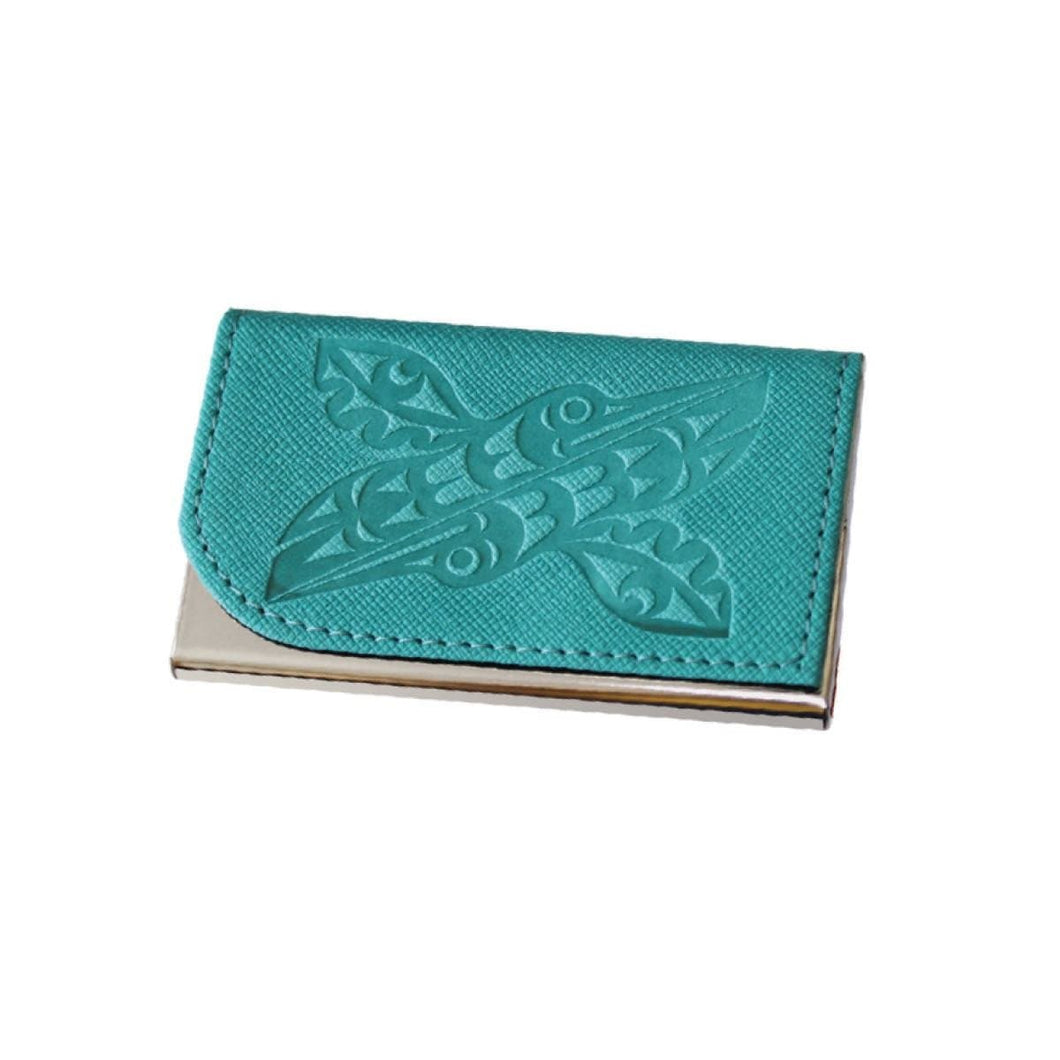 Card holder - Hummingbirds by Maynard Johnny Jr, Teal
