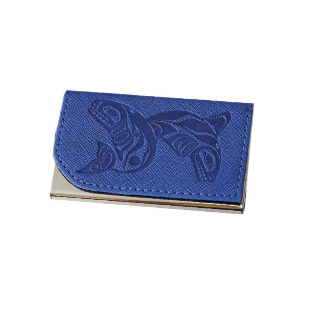Card holder - Whales by Paul Windsor, Blue