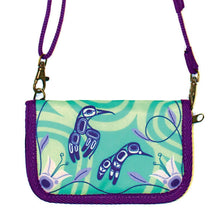 Load image into Gallery viewer, Crossbody Travel Wallets - Hummingbirds - Gordon White (Teal/Purple)
