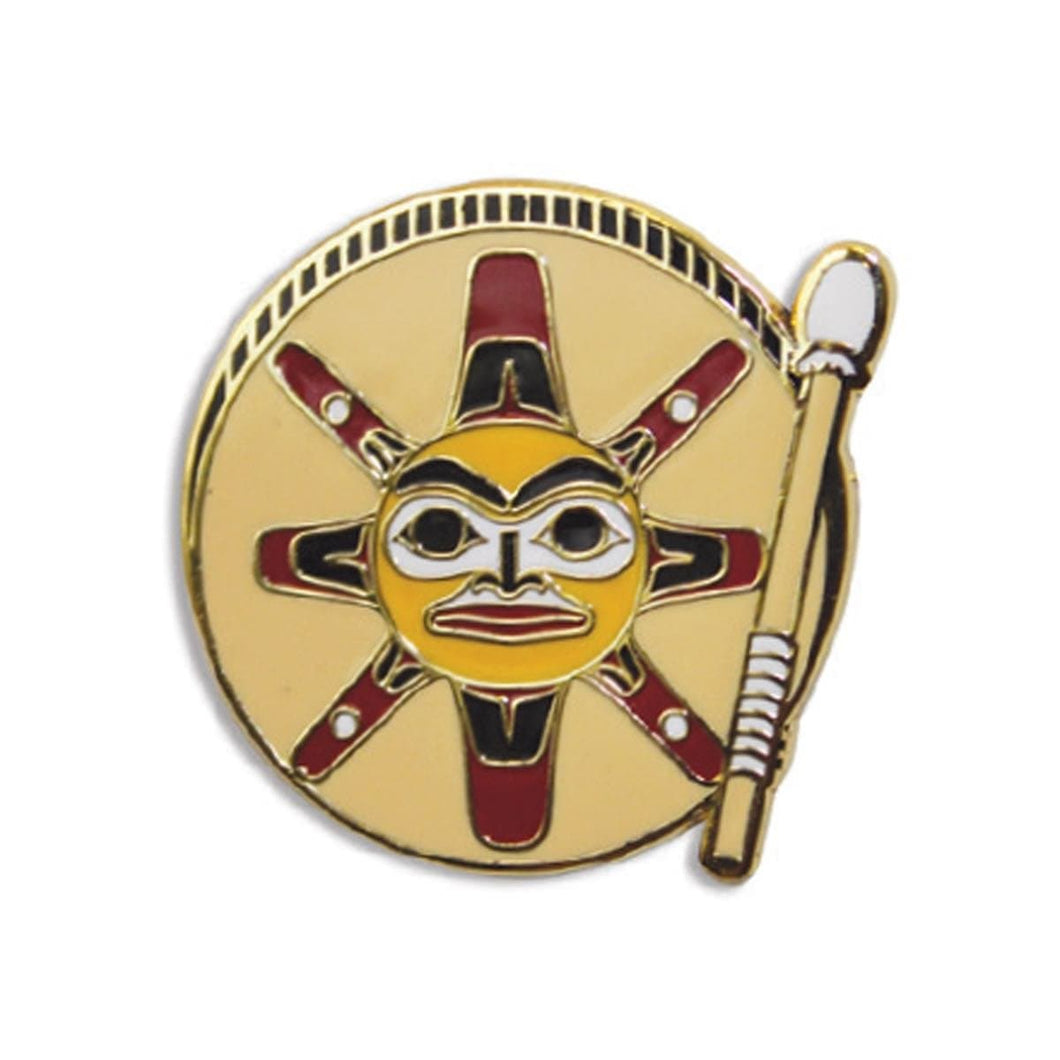 Enamel Pin - Sun Drum by Ernest Swanson