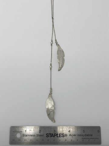 Silver Necklace w/ Zirconia Stones - Feathers by Val Lancaster