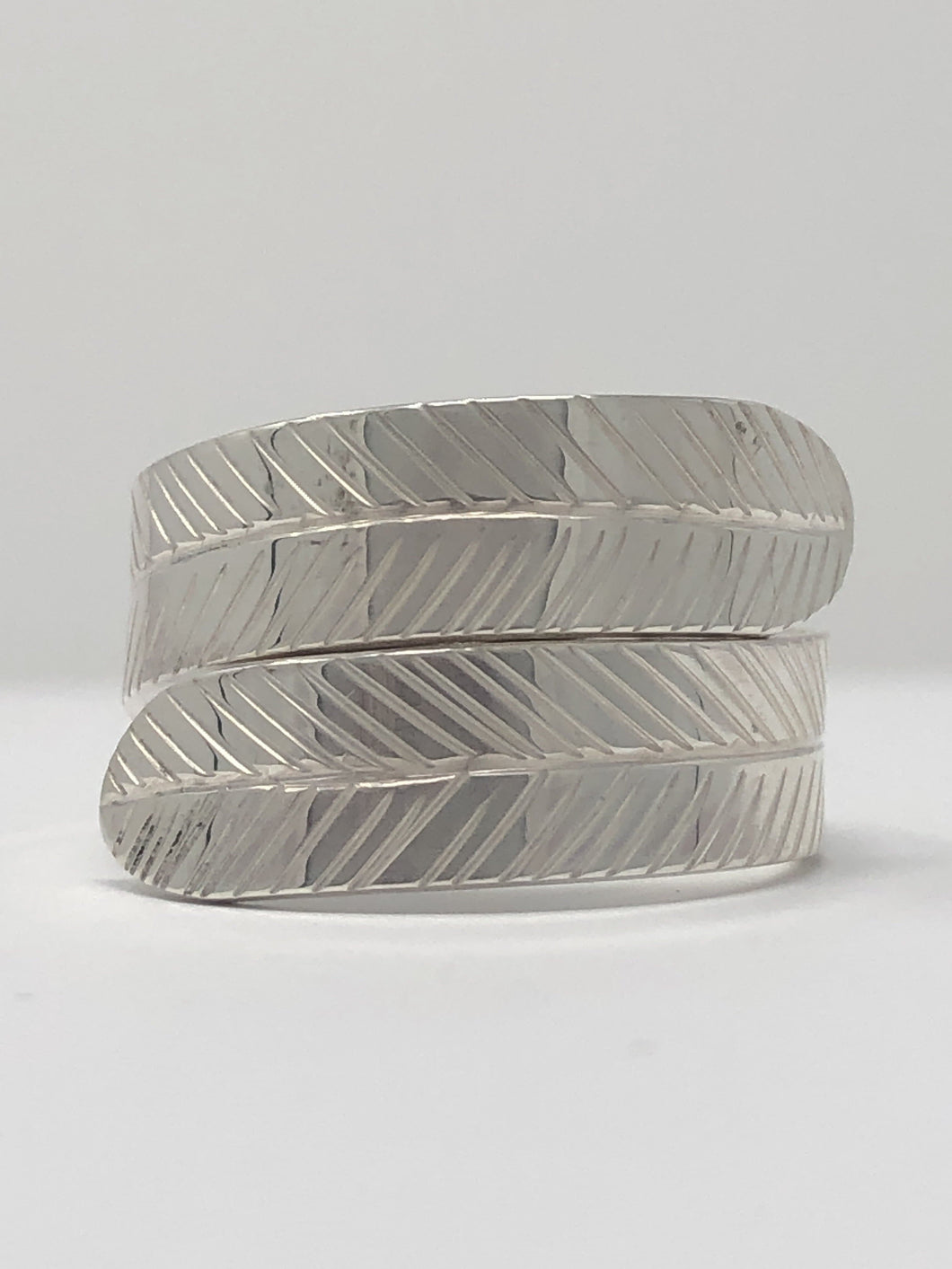 Silver Large Wrap Ring - Feather By Val Lancaster