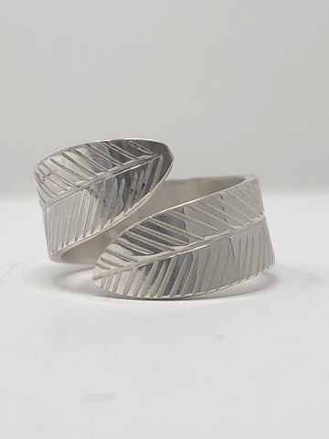 Silver Small Wrap Ring - Feather By Val Lancaster
