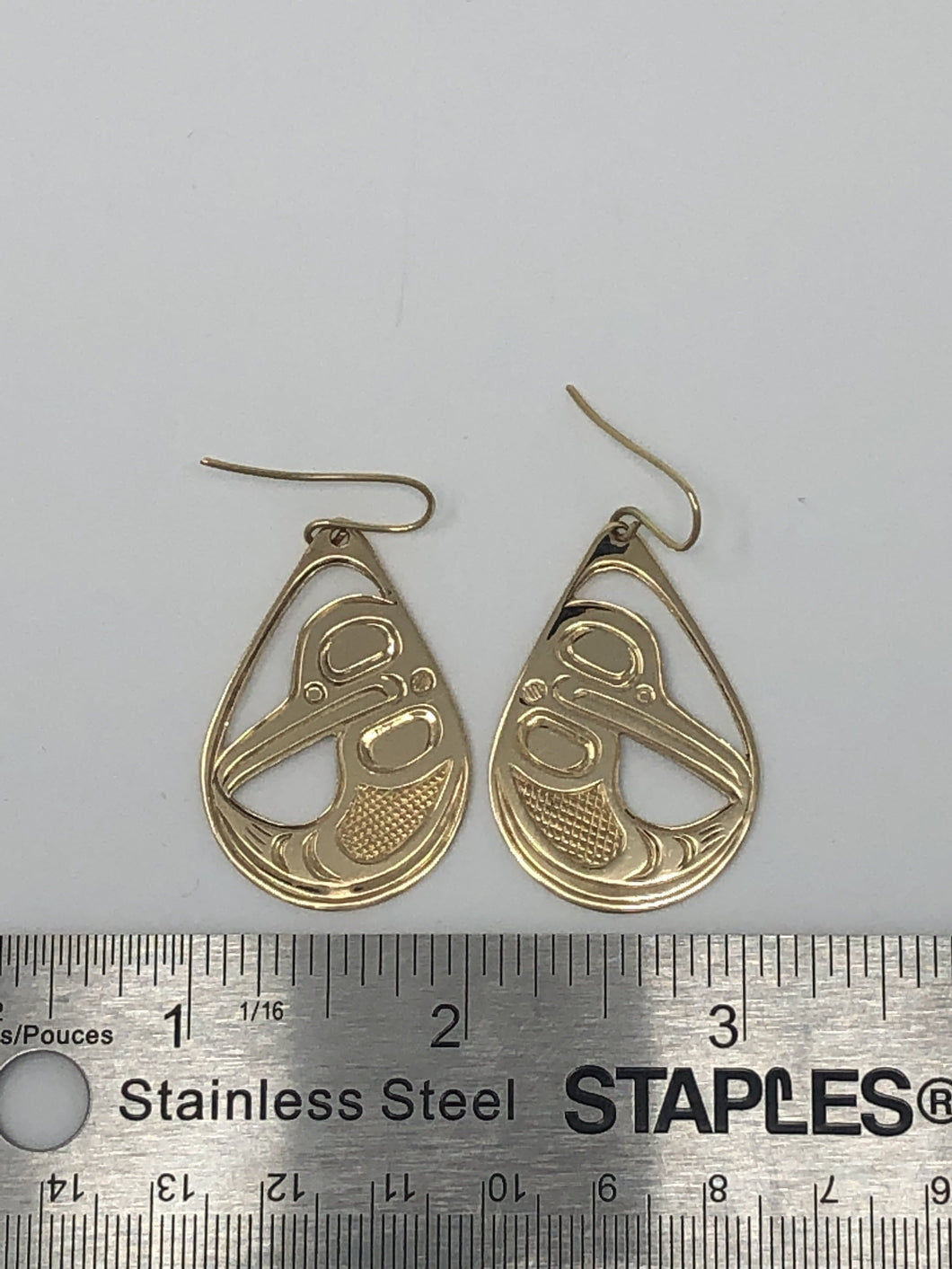 Earring-Gold H-Birds by Stephen Bruce Sr