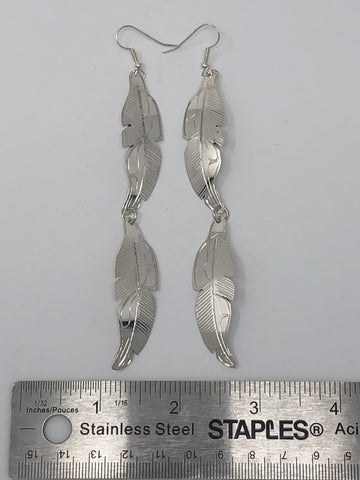 Silver Shoulder Duster Earrings - Feathers by Val Lancaster