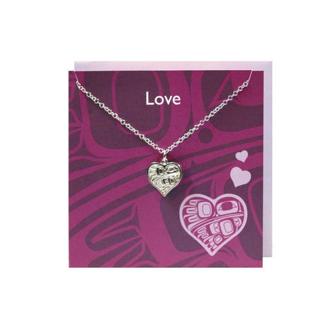 Pewter Charm Greeting Card - Hummingbird Heart by Gordie White