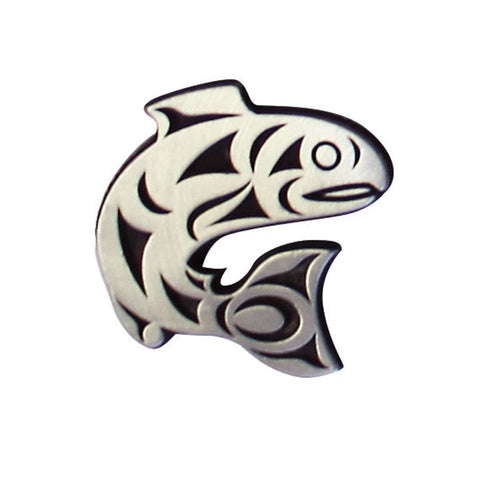 Pewter Magnet - Salmon Legend by Maynard Johnny Jr