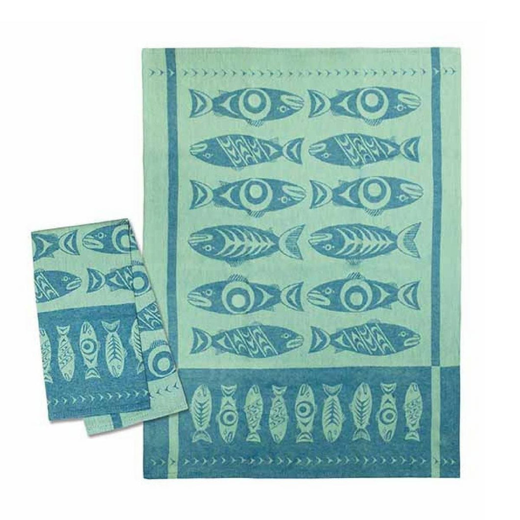 Tea Towel -Salmon in the Wild (Blue) by Simone Diamond