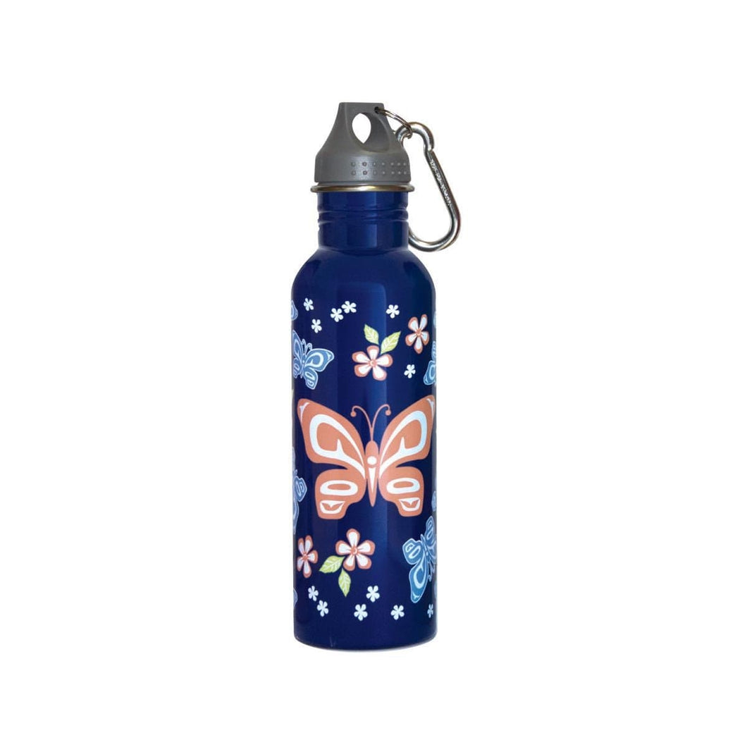 Water Bottle - Butterfly and Wild Rose by Justien Senoa Wood, Northern Tutchone, Dene