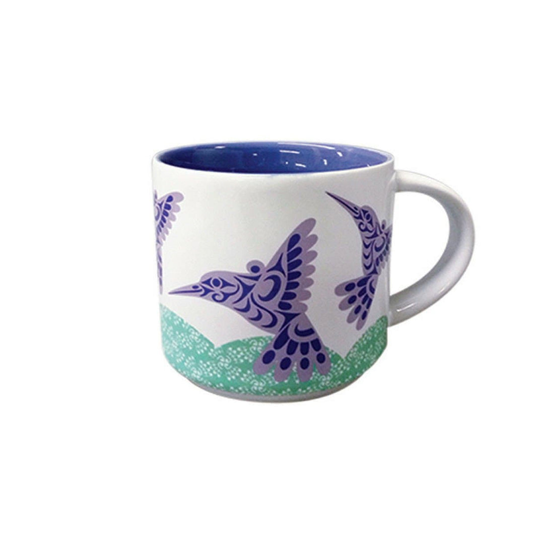 White Mug - Hummingbird by Joe Wilson-Sxwaset, Coast Salish