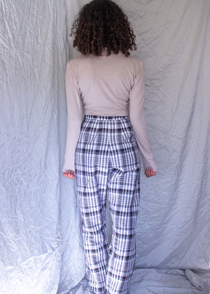 Mystic Pants | black check wide leg linen cotton pants