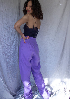 Bloom Pants | grape wide leg linen