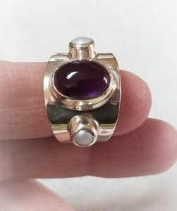 Sterling Silver, Amethyst & Pearl ~ Size 6 Artisan-crafted Ring