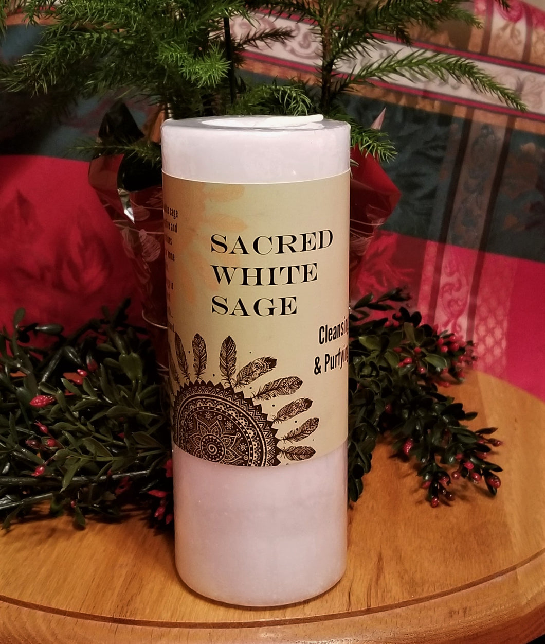 Sacred White Sage Candle -2 Options- Cleanse Purify Clear