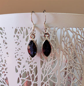 Iolite Drop Earrings in Sterling Silver ~ Enhance Psychic Abilities