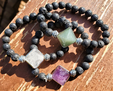Gemstone Pyramid Lava Stone Stretch Bracelet ~ Choices