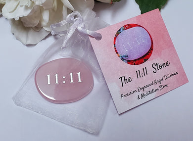 Angelic Vibration 11:11 Talisman Palm Stone Rose Quartz w/Romance Card
