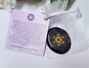 METATRON'S CUBE Palm Stone ~ Miracles Lightbringer Activation w/Romance Card