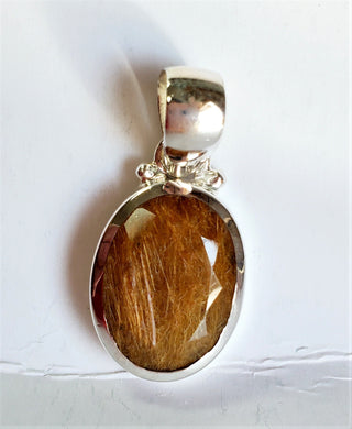 Golden Tourmaline Quartz Pendant ~ Sterling Silver & Natural Gemstone