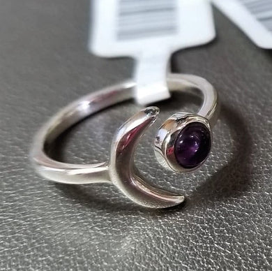 Symbolic Amethyst & Crescent Moon Sterling Silver Ring