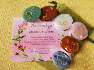 Engraved Archangel Guidance Stones Set of 6 Mixed Gem ~ Author Exclusive