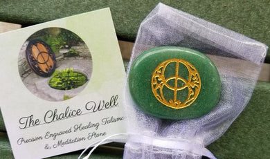 Chalice Well Engraved Keepsake Symbol Stone w/Pouch & Card