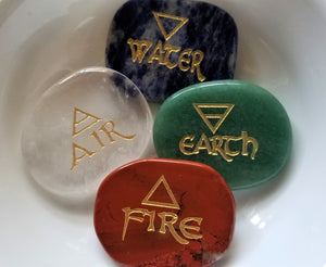 Precision Engraved 4 Element Directional Stones w/Pouch
