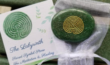 Load image into Gallery viewer, Labyrinth Engraved Keepsake Symbol Stone w/Pouch & Card
