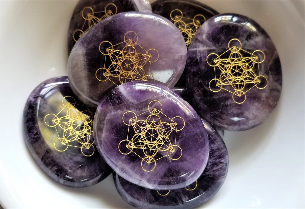 Amethyst METATRON'S CUBE Palm Stone Sacred Geometry Miracles Lightbringer Activation