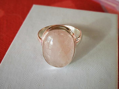 Morganite & Sterling Silver Ring Size 8.5 ~ Heart Healing Energy