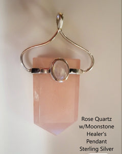 Rose Quartz Gemstone Healing Pendant w/ Moonstone ~ Sterling Silver