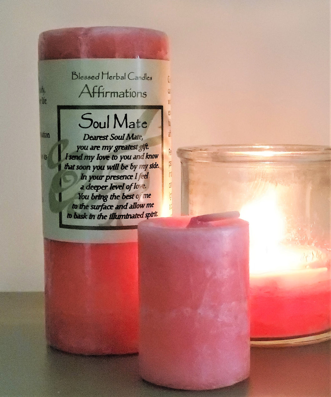 Soulmate Affirmation Pillar Candle W/FREE Votive