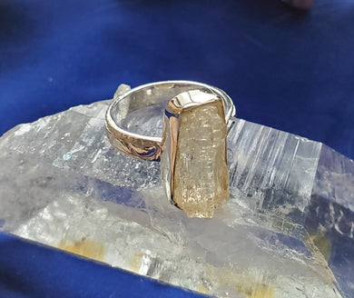 Golden Scapolite Ring .925 Sterling Silver Fancy Setting ~ Stunning Energy
