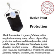 Load image into Gallery viewer, Black Tourmaline Healing Pendant w Moonstone ~ Sterling Silver