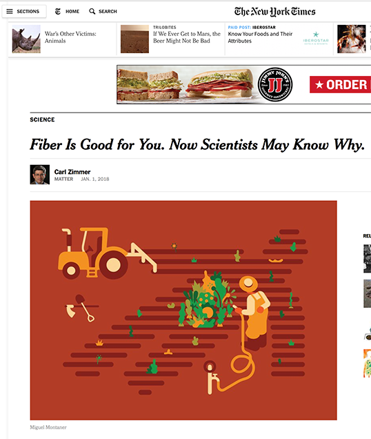 "NY Times: ""Fiber Is Good for You. Now Scientists May Know Why."""