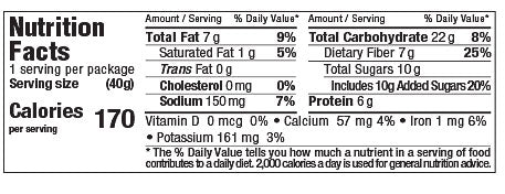 Nutrition Facts Razz-Apple Almond MicroBiome Bar 40g
