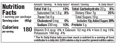 Nutrition Facts Choco-Cherry Walnut MicroBiome Bar 40g