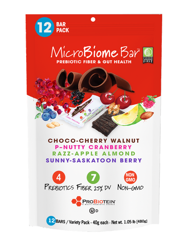 MicroBiome Bar® – Variety Pack – 12 Bars – 40g Each – 4 Flavors – FREE Shipping – Discounts Available