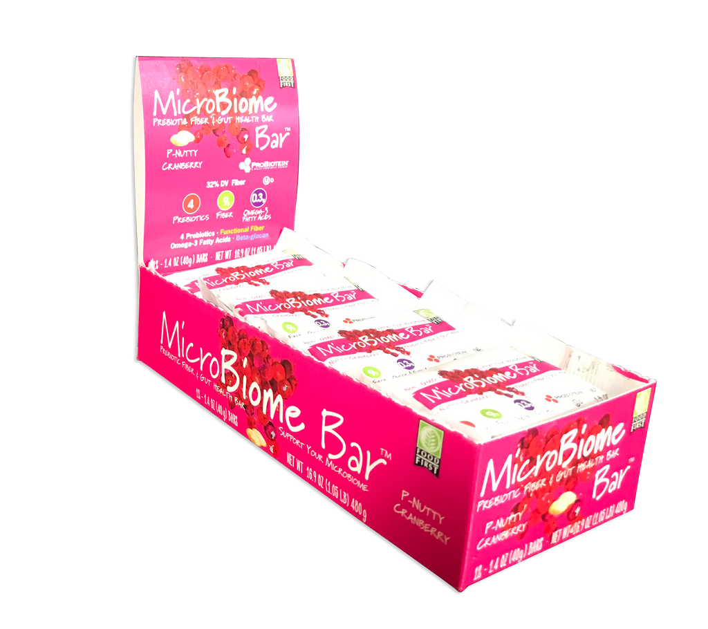 MicroBiome Bar® – P-Nutty Cranberry - Box of 12 Bars – FREE Shipping – Discounts Available