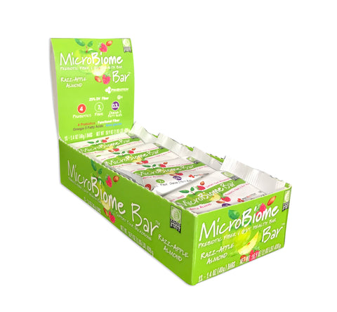 MicroBiome Bar® – Razz-Apple Almond - Box of 12 Bars – FREE Shipping – Discounts Available